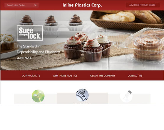 Inline plastics homepage, plastic manufacturer website, website development, wordpress development