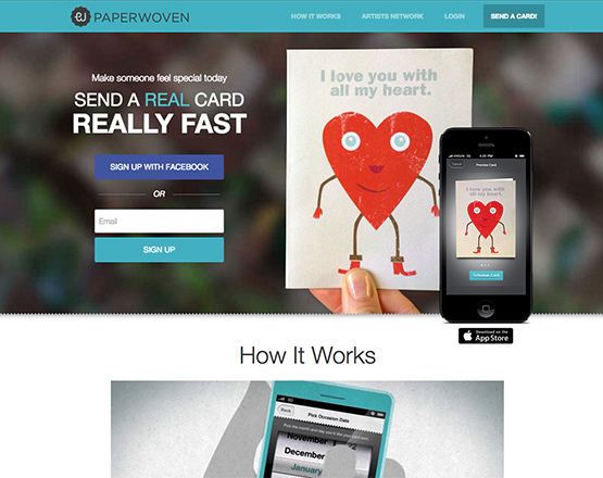 Paperwoven homepage image, web application development group
