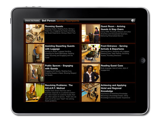Doubletree training ipad application, doubletree training, iOS development training, iOS development agency, staff training digital