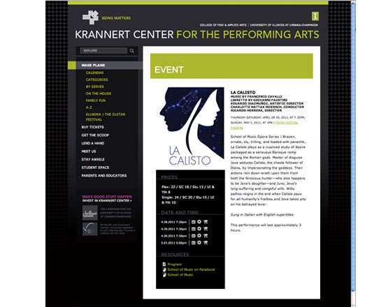 Krannert Center, website development, performing arts, event page, ticket purchasing, website development agency, website development group