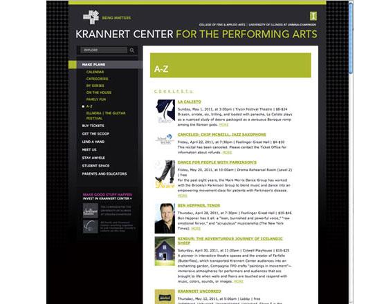 Krannert center, University of Illinois, .Net development, performance sort page, website development group, website development agency
