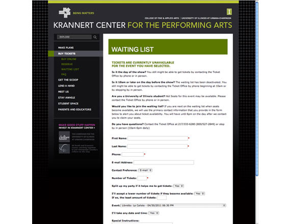 Krannert Center, university performing arts website, Ticket purchase, .net website, website design agency, website development agency