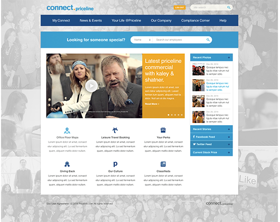 Priceline Homepage, custom Aurora community install, custom corporate community, enterprise community development