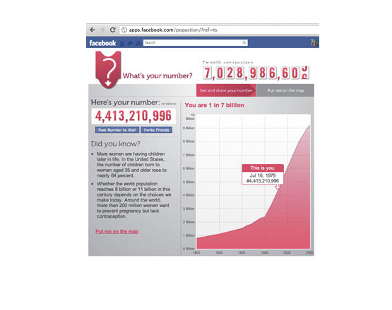 facebook application, population action, what's your number, facebook application development, application development